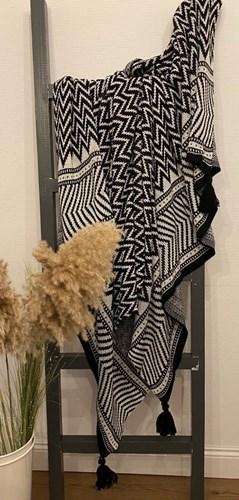 Black White Zigzag Koltuk Şalı - CLB02SAL görseli, Picture 1