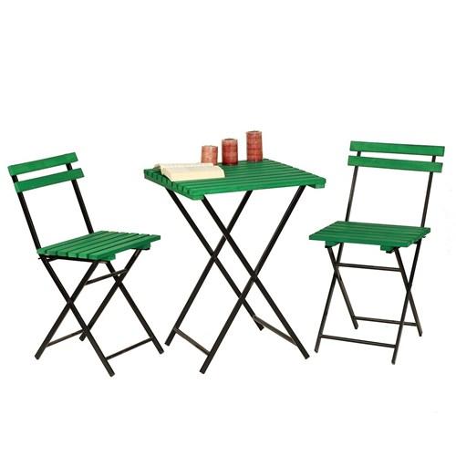 Zizuva Yeşil Ahşap Bistro Masa Takımı - ZZ5000-V100621 görseli, Picture 1