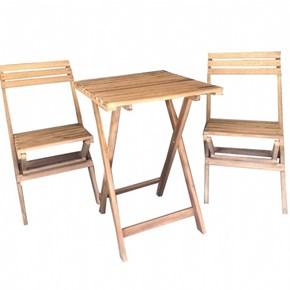 Zizuva Ahşap Katlanır Bistro Masa Sandalye Takımı - ZZ5000-V100618 görseli