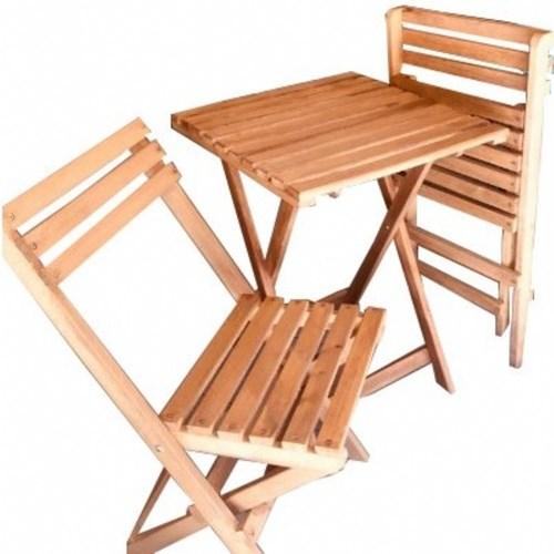 Zizuva Ahşap Katlanır Bistro Masa Sandalye Takımı - ZZ5000-V100618 görseli, Picture 4