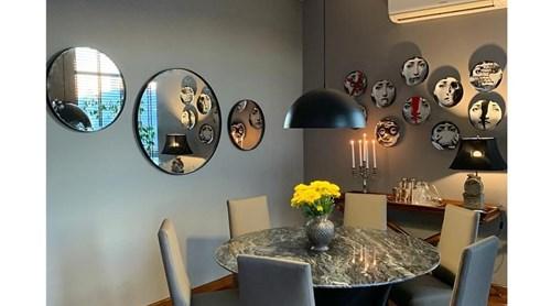 Asu 3'lü Set  (90-60-50 Cm) Siyah Yuvarlak Ayna - OTTOASU3LÜSYH görseli, Picture 1
