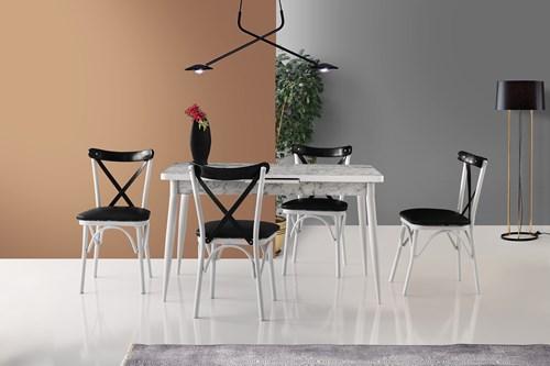 Metal Otomatik Masa Ekol Sandalye Siyah Beyaz  görseli, Picture 1