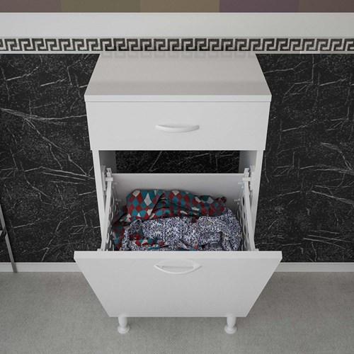 Çakır Kirli Sepetli Beyaz Çamaşır Dolabı - ARD129 görseli, Picture 3