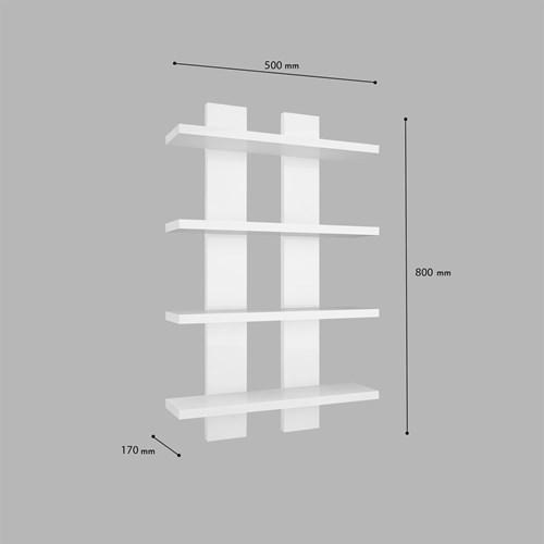 Nergis 4 Lü Duvar Rafı Beyaz - ARD609 görseli, Picture 4