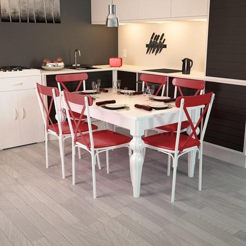 Torna Ayaklı Masa Sandalye Takımı Kırmızı - ARD4006 görseli, Picture 1