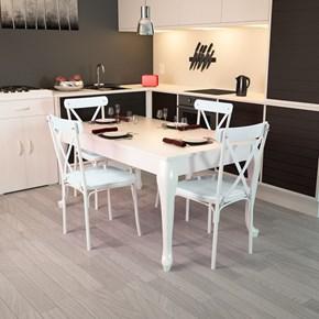 Lidya Torna Ayaklı Beyaz Sandalye Takımı  - ARD4015 görseli