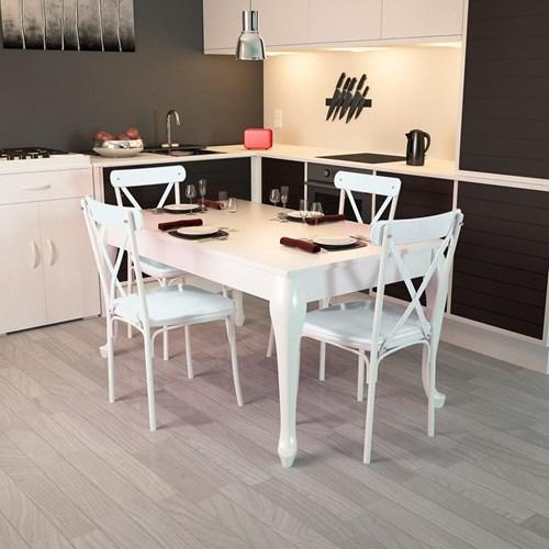 Lidya Torna Ayaklı Beyaz Sandalye Takımı  - ARD4015 görseli, Picture 1