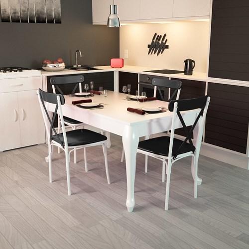 Lidya Torna Ayaklı Beyaz Sandalye Takımı  - ARD4015 görseli, Picture 4
