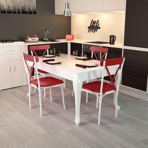Lidya Torna Ayaklı Beyaz Sandalye Takımı  - ARD4015 görseli, Picture 5