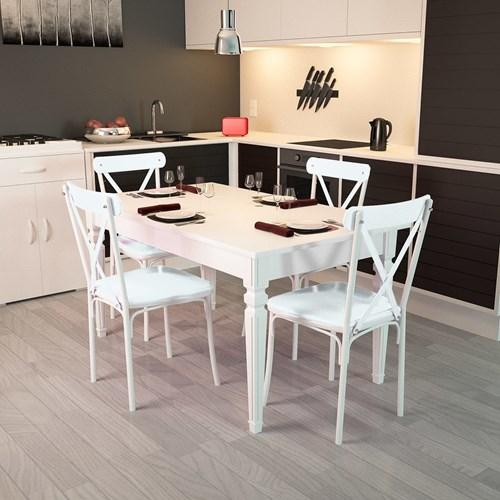 Flora Kare Ayaklı Beyaz Masa-Sandalye Takımı - ARD4030 görseli, Picture 1