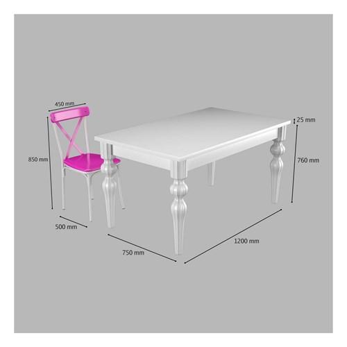 Flora Kare Ayaklı Beyaz Masa-Sandalye Takımı - ARD4030 görseli, Picture 2