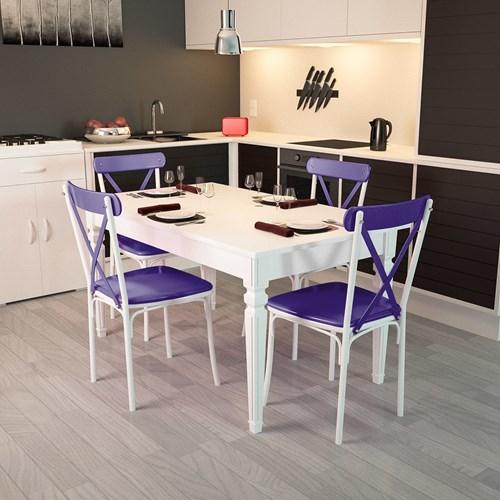 Flora Kare Ayaklı Beyaz Masa-Sandalye Takımı - ARD4030 görseli, Picture 5