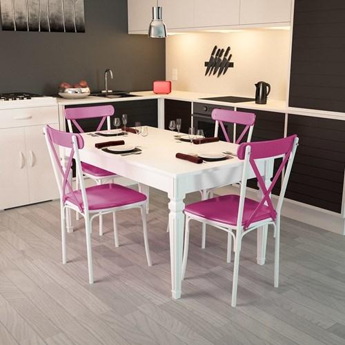 Flora Kare Ayaklı Beyaz Masa-Sandalye Takımı - ARD4030 görseli, Picture 6