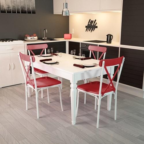 Flora Kare Ayaklı Beyaz Masa-Sandalye Takımı - ARD4030 görseli, Picture 7