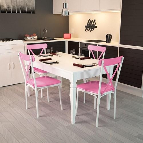 Flora Kare Ayaklı Beyaz Masa-Sandalye Takımı - ARD4030 görseli, Picture 8