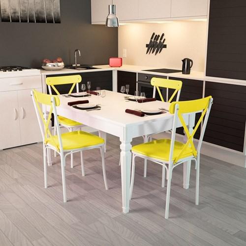 Flora Kare Ayaklı Beyaz Masa-Sandalye Takımı - ARD4030 görseli, Picture 9
