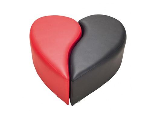 Kırmızı Siyah Kalpli Puf - P1002 görseli, Picture 1