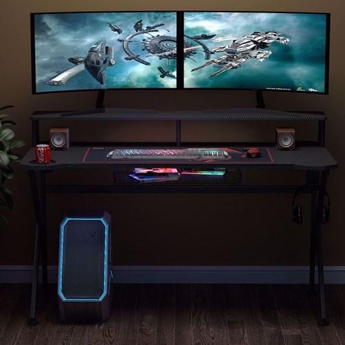 Zizuva Tasarımlı Ev Ofis Bilgisayar Oyuncu Gaming Monitör Raflı Sepetli Askılıklı Metal Çalışma Masası görseli, Picture 3