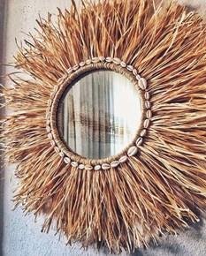 Dekoratif Deniz Kabuklu Aynalı Rafya Duvar Süsü 45 Cm görseli