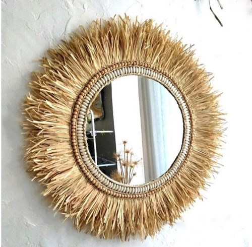 Dekoratif Taşlı Aynalı Rafya Duvar Süsü 45 Cm - WDDAYN04 görseli, Picture 1