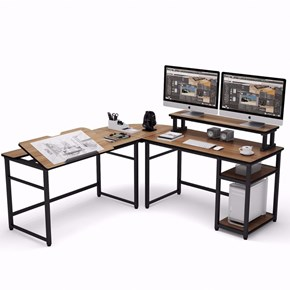 Zizuva Ceviz L Şekilli Çizim ve Çalışma Masası - ZZ2000-V200054 görseli