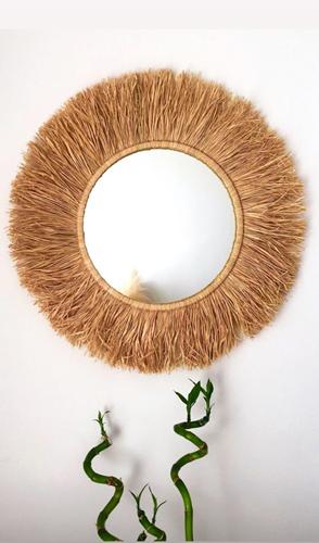 Dekoratif Aynalı Rafya Duvar Süsü 45 Cm - WDDAYN02 görseli, Picture 1