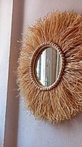 Dekoratif Aynalı Rafya Duvar Süsü Bohemian Style Boncuk Detaylı Ayna 45 Cm görseli