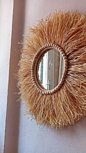 Dekoratif Aynalı Rafya Duvar Süsü Bohemian Style Boncuk Detaylı Ayna 45 Cm görseli, Picture 1