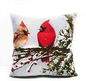 Kardinal Kuşu Desenli Dekoratif Kırlent- DKRNYKRDNL görseli