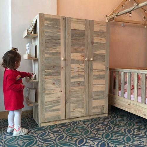 Montessori Masif Ahşap Çocuk Dolabı Kapaklı 150cm - MON02DL görseli, Picture 4