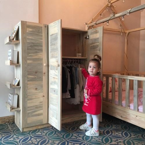Montessori Masif Ahşap Çocuk Dolabı Kapaklı 150cm - MON02DL görseli, Picture 5