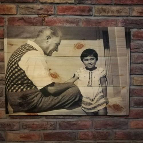 Mustafa Kemal Atatürk Masif Ahşap Tablo Serisi 50x70 - MKA02TB görseli, Picture 4