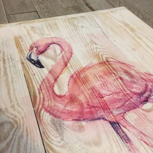 Watercolor Flamingo Masif Ahşap Tablo 50x70 - WAT02TB görseli, Picture 2