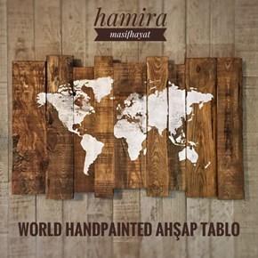 World Handpainted Masif Ahşap Tablo 50x80 - WOR01TB görseli