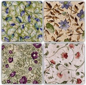 Flowers   Doğal Taş Bardak Altlığı  - BA004 görseli
