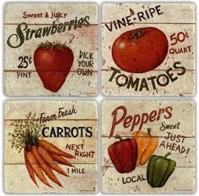 Vegetables  Doğal Taş Bardak Altlığı - BA012 görseli