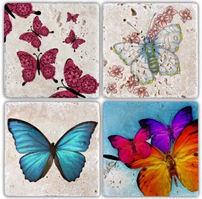 Butterfly  Doğal Taş Bardak Altlığı - BA017 görseli