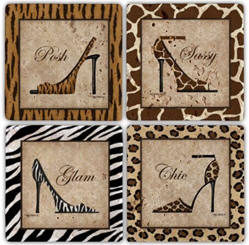 Leather Shoes Doğal Taş Bardak Altlıkları  - BA072 görseli, Picture 1