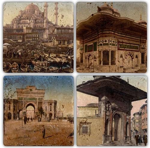 Old İstanbul Doğal Taş Bardak Altlıkları - BA073 görseli, Picture 1