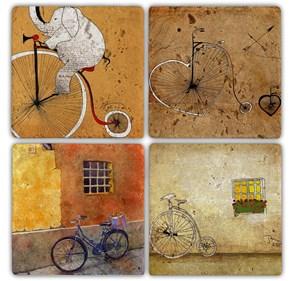 Fil İn The Bisiklet Doğal Taş Bardak Altlıkları - BA081 görseli