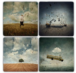 Sürrealist Doğal Taş Bardak Altlıkları - BA092 görseli
