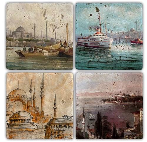 İstanbul 5 Doğal Taş Bardak Altlıkları - BA101 görseli, Picture 1