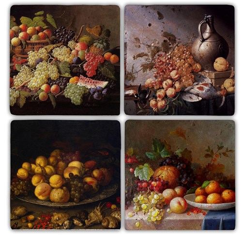 Fruits Doğal Taş Bardak Altlıkları - BA105 görseli, Picture 1