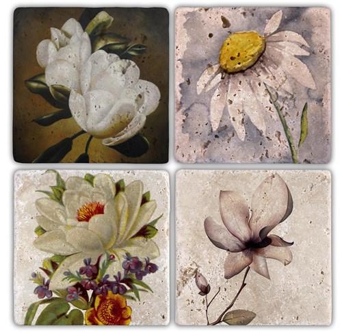 Flowers 2 Doğal Taş Bardak Altlıkları - BA110 görseli, Picture 1
