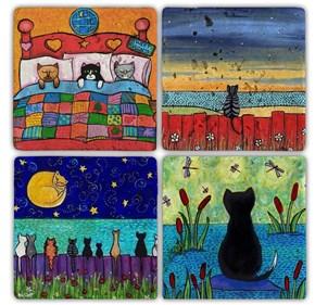 Color Cats  Doğal Taş Bardak Altlıkları - BA111 görseli