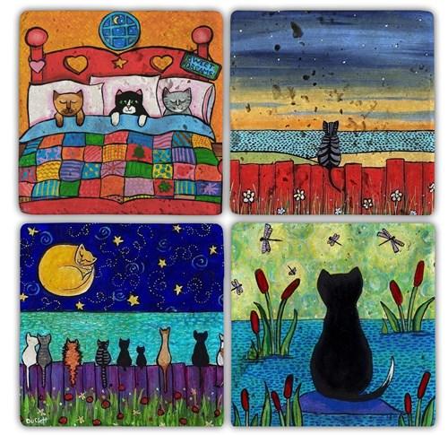 Color Cats  Doğal Taş Bardak Altlıkları - BA111 görseli, Picture 1