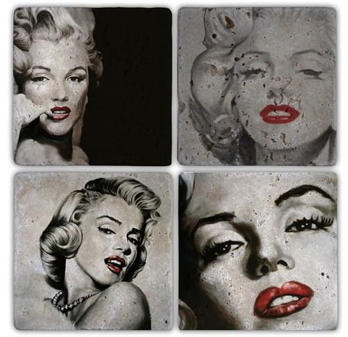 Marilyn 1 Doğal Taş Bardak Altlıkları  - BA123 görseli, Picture 1