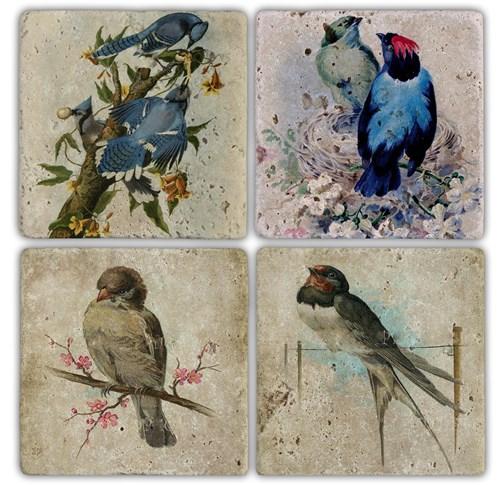 Bird 2  Doğal Taş Bardak Altlıkları - BA125 görseli, Picture 1