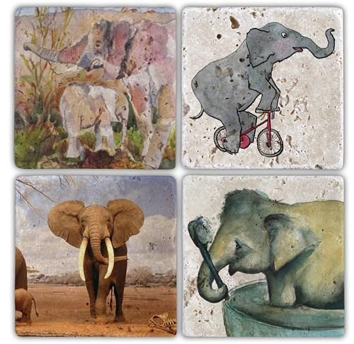 Elephant 1 Doğal Taş Bardak Altlıkları - BA127 görseli, Picture 1