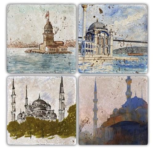 İstanbul 7 Doğal Taş Bardak Altlıkları - BA145 görseli, Picture 1